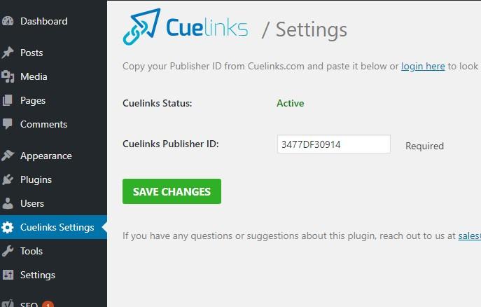 cuelinks settings