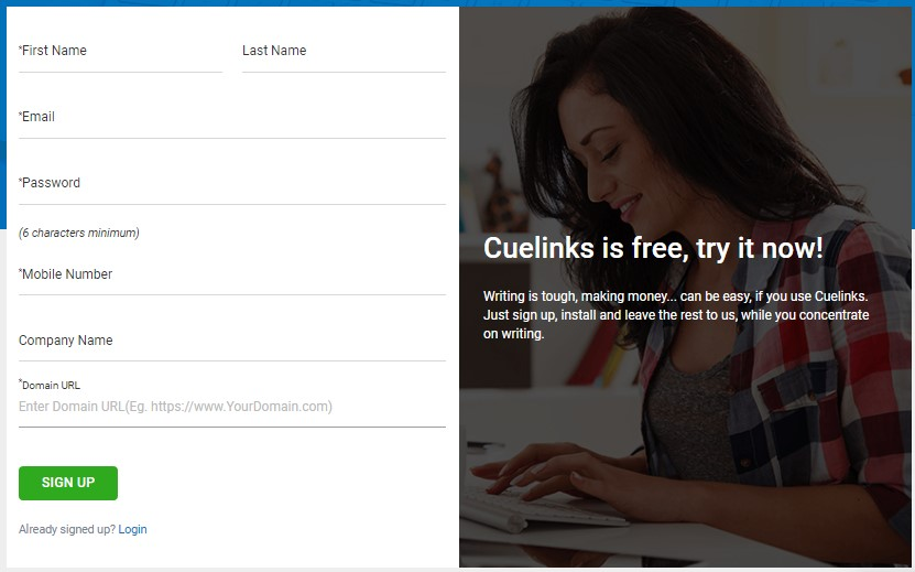 cuelinks sign up page