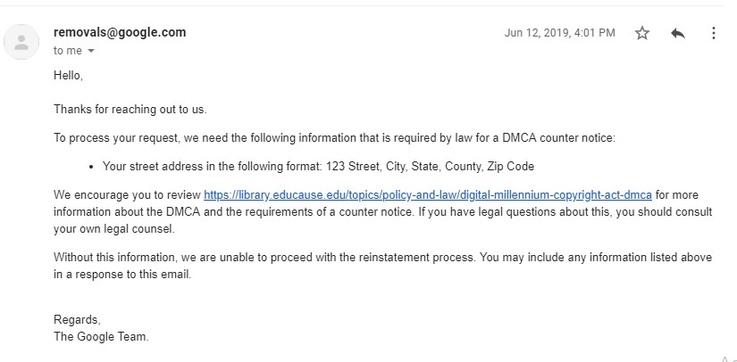 Google DMCA Reply, 12th June