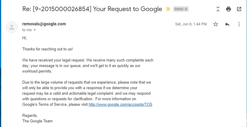 Google DCMA Counter Notice Reply