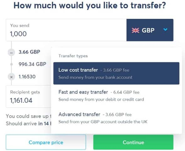 sending money through transferwise