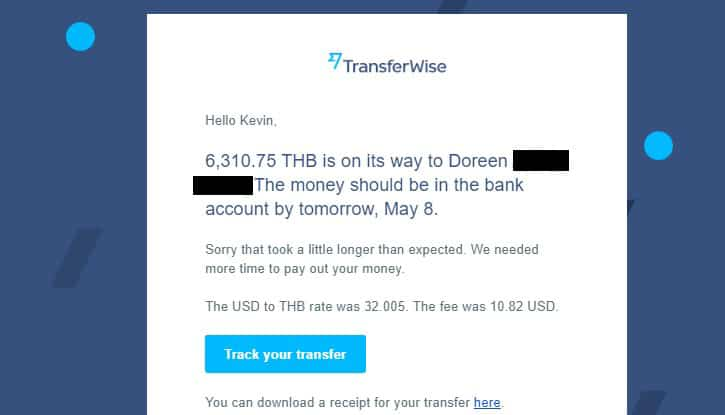 transferwise confirmation
