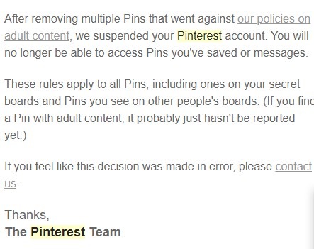 Pinterest Explanation for Suspening My Account